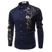 Rocksir flor impreso camisa hombres marca Venta caliente negocios fitness alta calidad camisas hombres Blanco/Negro/azul camisas m-3XL