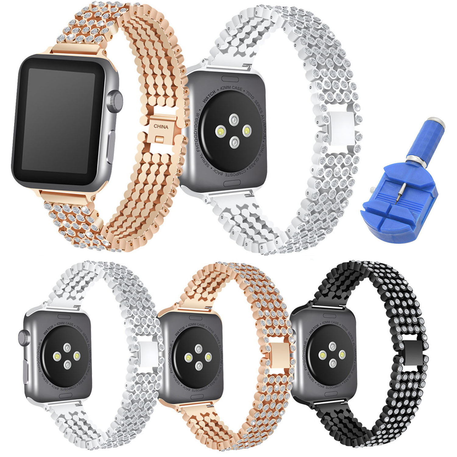 Luxury Rhinestone Strap Band For Apple Watch Series 5 4 3 2 1 42mm 38mm Wrist Bracelet For Iwatch 40 44mm Apple Watch Band Belt Watchbands Aliexpress