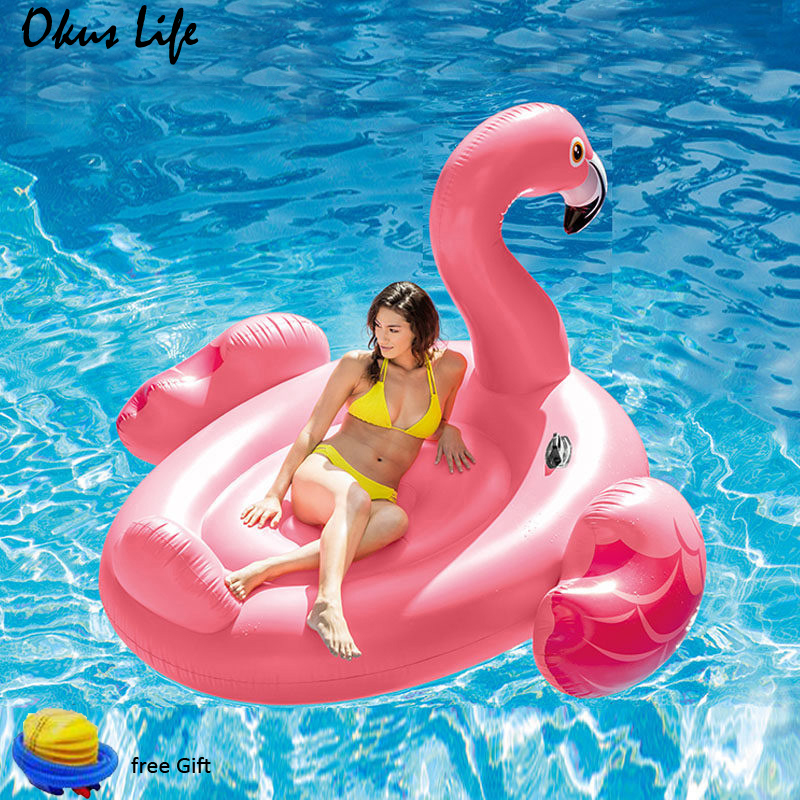 150/ 190cm Swimming Pool Inflatable Giant Pink Flamingo Swimming Laps Float Island Water Toys Pool Fun Raft Water Party Toys New