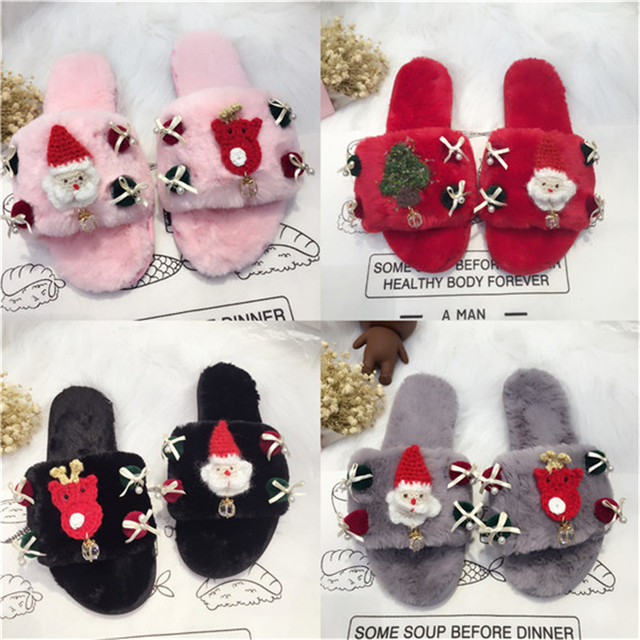 ebe5fb624 2017 Christmas Home Slippers Women Indoor Slides Warm Faux Fur Santa Claus  Gift Decoration Winter Shoes Woman House Slippers