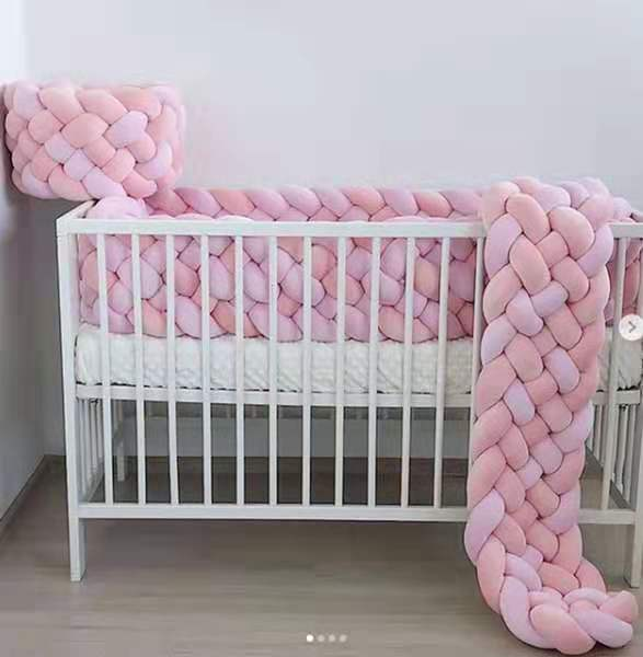 2Meter Length 22cm Height Baby Braided Crib Bumpers  6 Strip Knot Long Pillow Cushion,Nursery Bedding,cot Room Dector