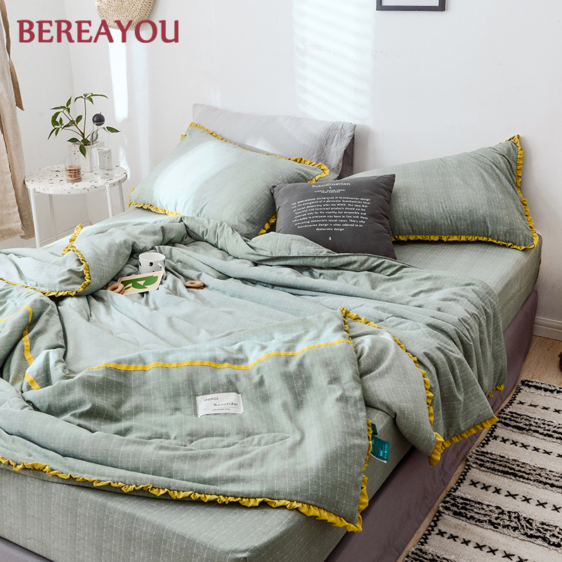 Summer Quilts Duvet Cover Sets 1 3 4pcs Full Queen King Size Blanket With Bed Sheet and Pillowcase Double Bed Quilt edredones in Quilts from Home Garden