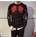 Moda bordado con lentejuelas sweatershirt hoody y cachemir masculino engrosamiento sudadera con capucha de la venta caliente