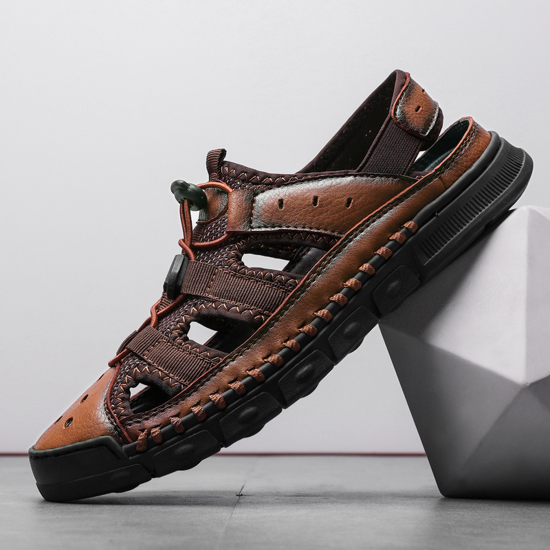 Fashion Summer Casual Men's Sandals Beach Genuine Leather Breathable Shoes Comfortable Men Outdoor Walking Sandals(China)