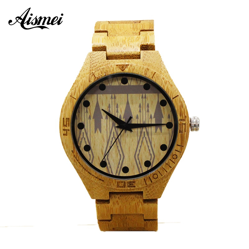 Aismei Full Wooden Watches Mens Creative Bracelet Analog Natural Bamboo Quartz Wristwatch Male Clocks Top Gifts Reloj de madera hand made natural wood mens quartz watch wooden watchband bracelet clasp simple design dial high quality male watches gift
