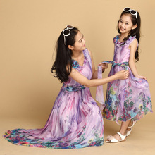 FunnyABC summer mother daughter dresses Bohemian chiffon matching mother daughter clothes sleeveless beach dresses