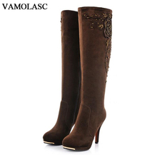VAMOLASC New Women Autumn Winter Warm Suede Knee High Boots Sexy Platform Thin High Heel Boots Zipper Embroidery Women Shoes