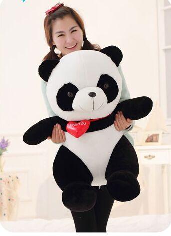 큰 사랑스러운 팬더 장난감 앉아 팬더 인형 붉은 마음 부드러운 장난감 생일 선물 약 90 cm-에서스터핑 & 플러쉬 동물부터 완구 & 취미 의  그룹 1