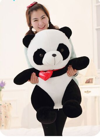 ФОТО big lovely panda toys sitting panda plush doll with red heart soft toy birthday gift about 90cm
