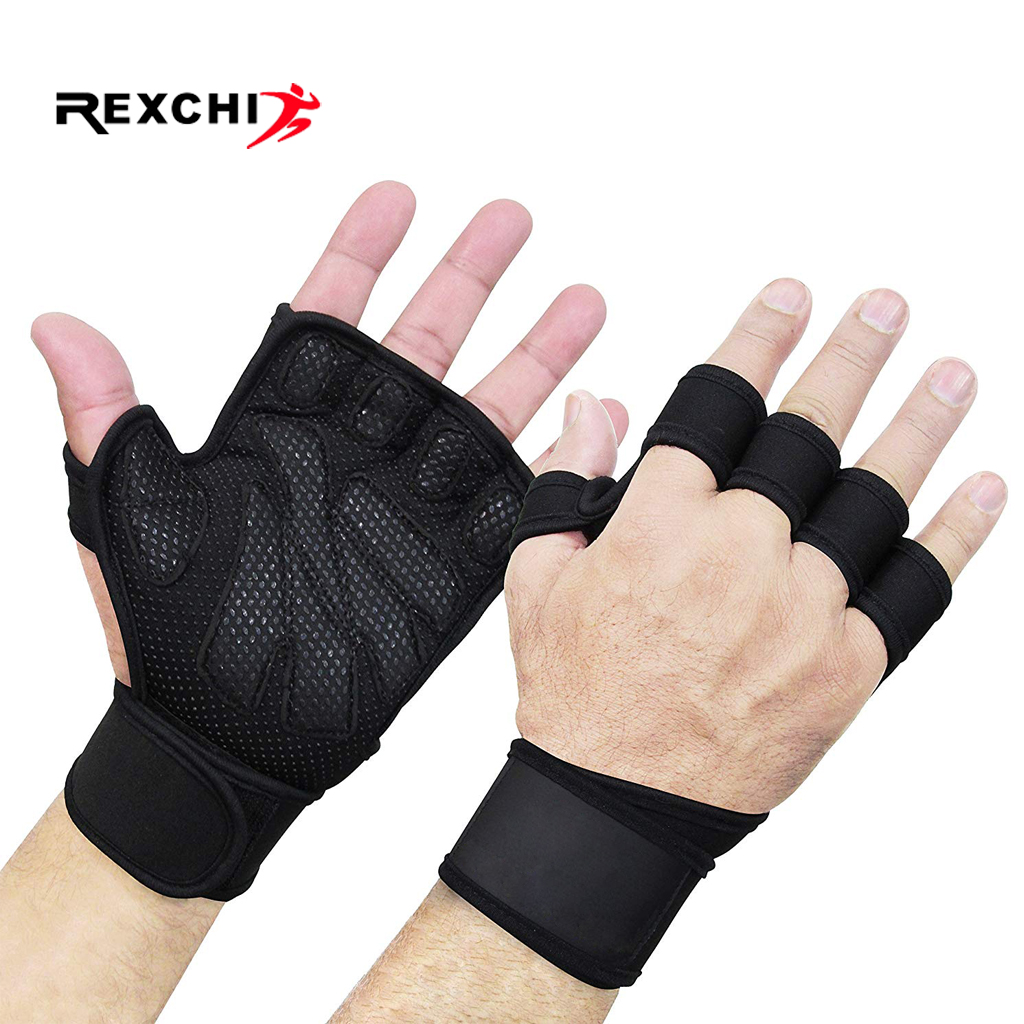 REXCHI Half Finger Gym Fitness Gloves Hand Palm Protector With Wrist Wrap Support Crossfit Workout Power Weight Lifting