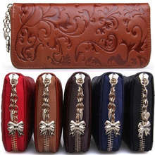 New Fashion Vintage Women Genuine Leather Wallets Long Clutch Embossing Wallet Ladies' Retro Purse Money Clips Card & ID Holder