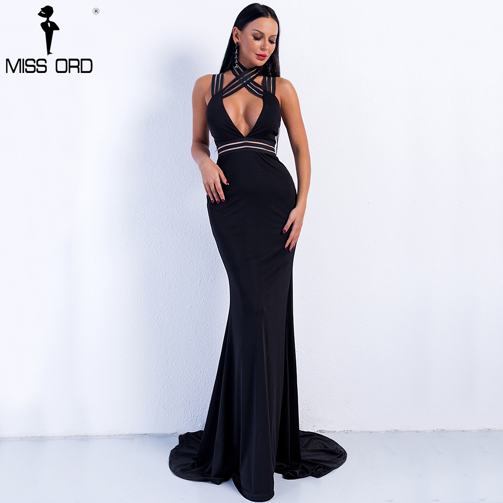 Missord 2018 Sexy High Neck Open Front Off Shoulder  Backless Cross Maxi Solid Color  Dress  FT8798-1