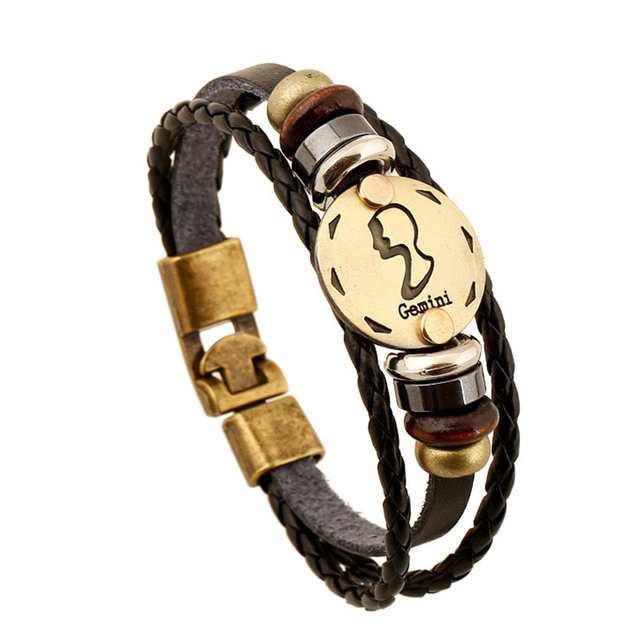 Hot selling Europe Fashion Punk Style 12 Constellations Gemini Bracelet High Quality Leather Bracelet B18203