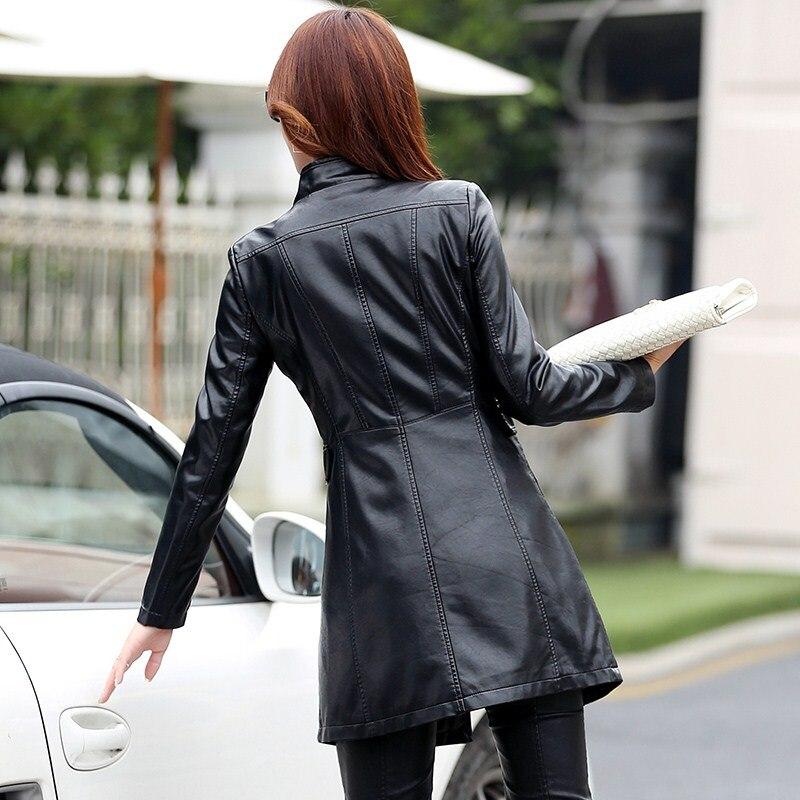 Simili cuir veste en cuir synthétique polyuréthane Punk Rivet femmes moto veste Style Punk noir Faux cuir manteau survêtement Punk - 4
