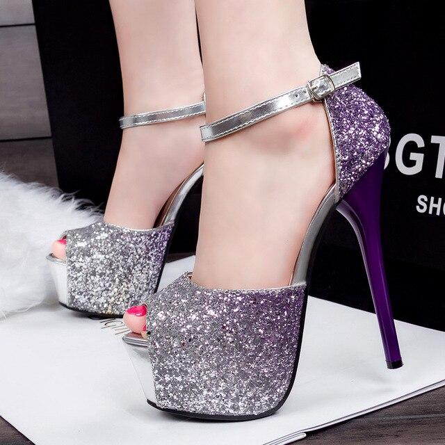 Nouveau Gradient Talons Hauts Femmes Talon Sexy Paillettes Sandales 8cm Chaussures xf1GZ