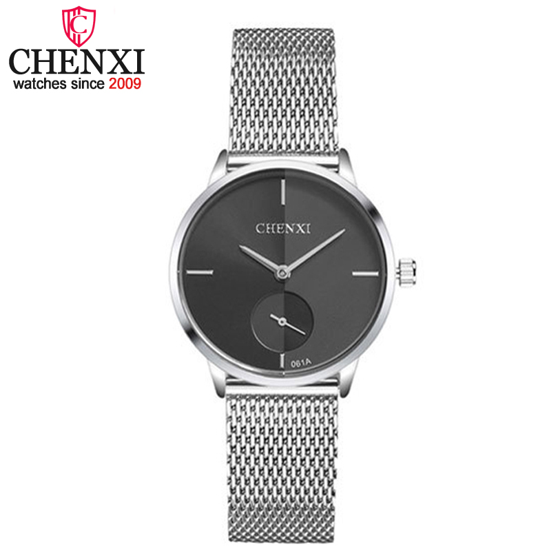 CHENXI Brand Ultrathin Full Steel Silver Women Quartz Wristwatch Small Dial Design Female Watch Fashion Waterproof Ladies Clocks
