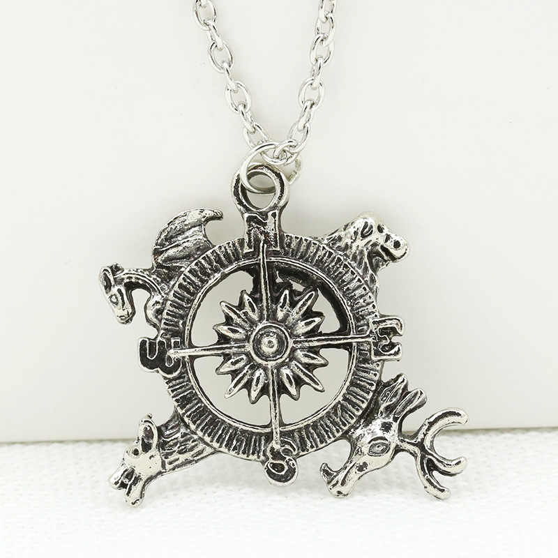 Game of Thrones Compass Shaped Vintage Silver Round Pendant Necklace Women Men