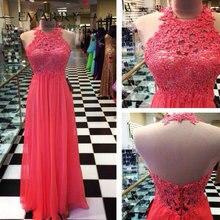 Neue Ankunft Gorgeous A-Line abendkleid Mit Applikationen Watremelon Lange Chiffon Abendkleid Benutzerdefinierte vestido de festa gala jurken