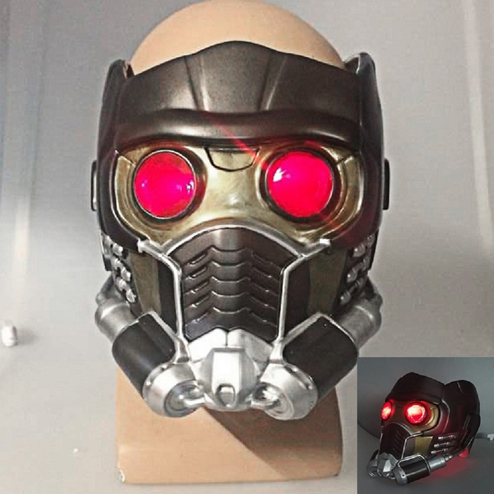 Cos Guardians of the Galaxy Helmet Cosplay Peter Quill Helmet PVC with Light Star Lord Helmet Halloween Party Mask For Adult