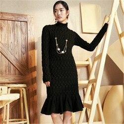 100% hecho a mano de lana de cuello alto de punto de moda de las mujeres vestido de slim H-Largo recto falda de cola de pescado de suéter uno Y sobre el tamaño