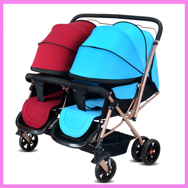 Folding Twins Baby Stroller Double Can Sit Lie Lightweight Double Stroller Twins Pram Pushchair Baby Stroller 2 In 1 for Twins