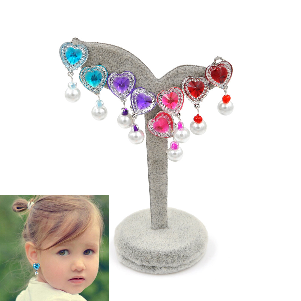 Clip on Earring Backs with Pads Dangle Heart Red Crystal Tassel for Women Girls Kids Jewelry Gift Box