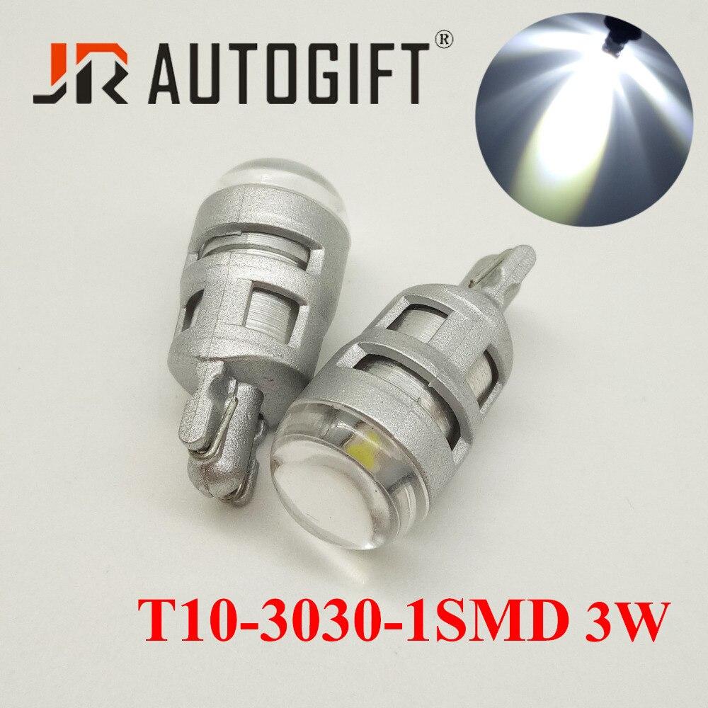 100PCS led t10 w5w lamp 1smd 3030 lens 3W Super Bright auto LED License Plate Light
