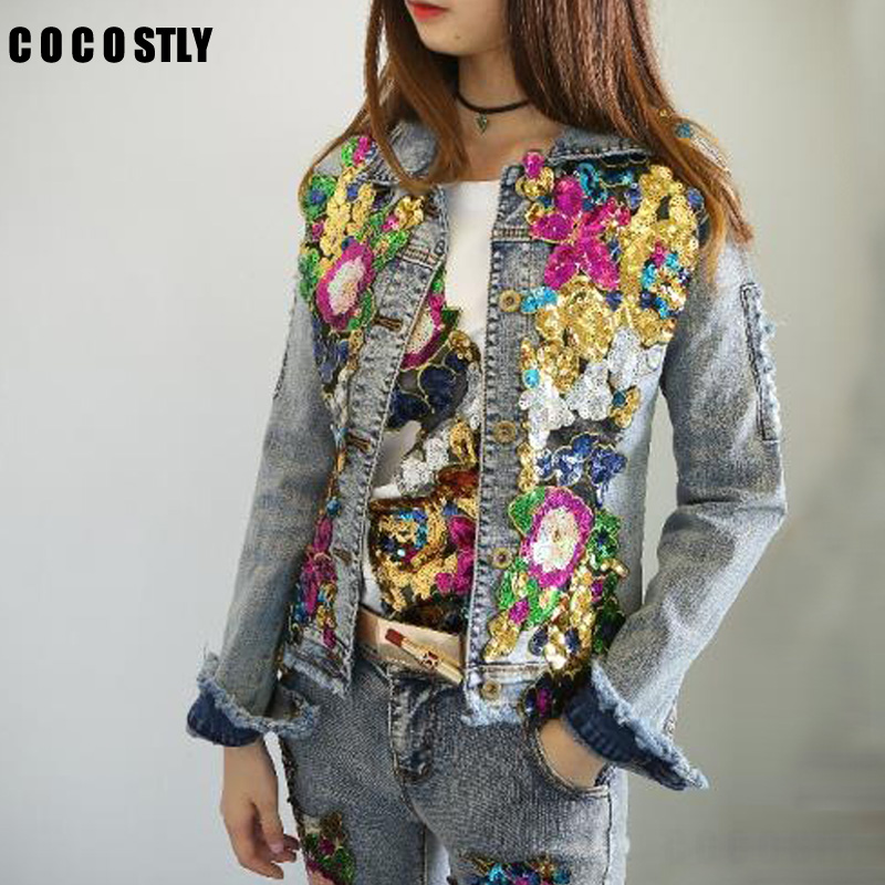 2018 Spring Jacket Women Denim Embroidery Rose Floral Beading Pearl Sequin Patch Epaulet Ripped Hole Bomber Denim Jacket jeans con blazer mujer