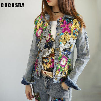 2019 Autumn Jacket Women Denim Embroidery Rose Floral Beading Pearl Sequin Patch Epaulet Ripped Hole Bomber