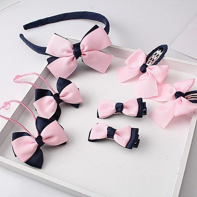 M MISM 1Set=7Pcs Women Elegant Bow Designer Hairpins Scrunchy Hair Clip Big Bowknot Hair Band Hair Accessories Kids Jewelry Set