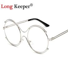 Long keeper mujeres gafas de sol grandes redondas gafas de sol de diseño de metal de la vendimia gafas de sol retro gafas de sol mujer 2017 new