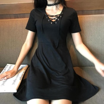 Gothic Bandage Women'S Vintage Dress Short Sleeve V-Neck Mini Slim Dresses Harajuku