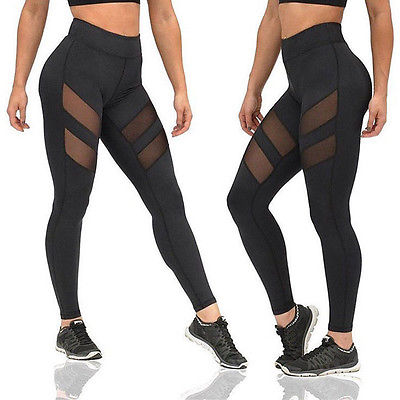 New Sexy Women Exercise Mesh Breathable Compression Leggings Fitness High Waist Leggings High Waist Lines Dry Quick Pants