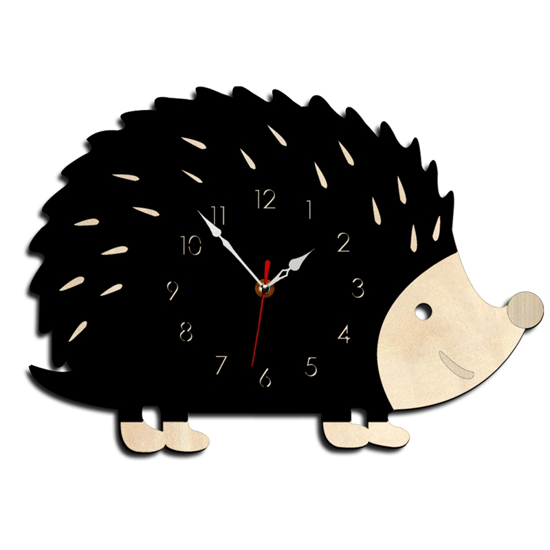SZS Hot Hedgehog Wall Clock Wooden Animal Clocks Living Room Bedroom Office Decor Watch Fashion Creative Modern Design