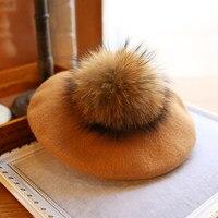 Wearzone Fashion Winter Wool Felt Berets Women Artist Boina Real Racoon Fur Cap New 15cm Pom