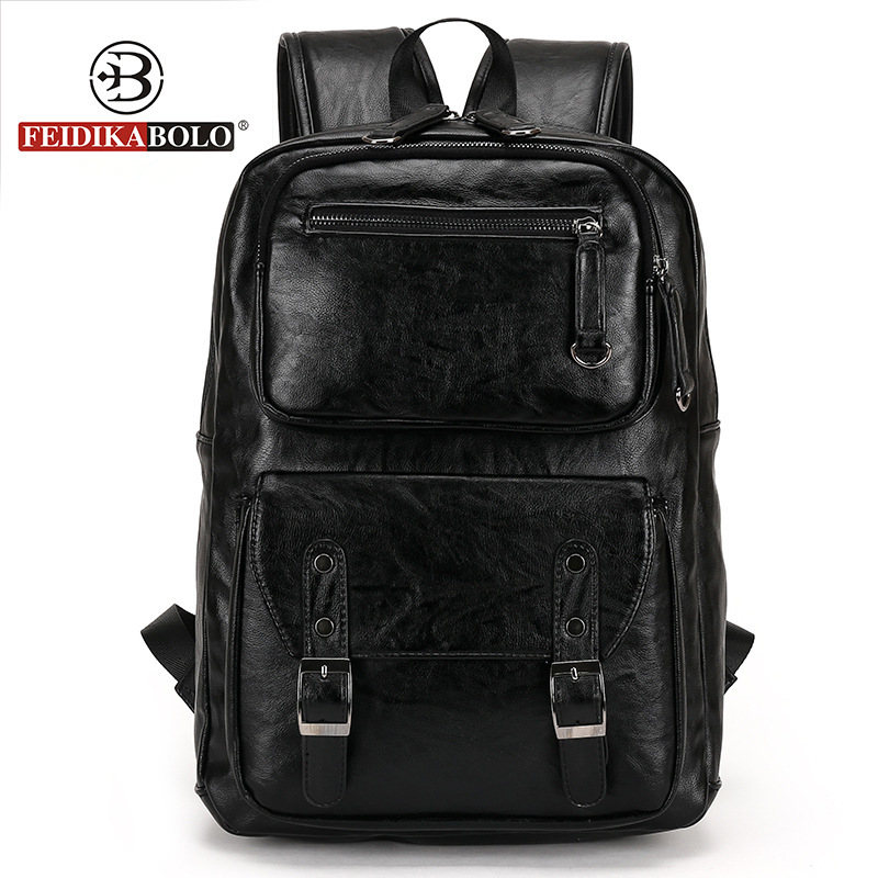 European and American style Solid high quality Genuine leather men backpack shoulder bag Schoolbag computer Travel bag 6002-F dikizfly new european and american style backpacks women high quality genuine leather backpack travel bags fashion mochila