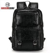 Europeus e Americanos estilo Sólido de alta qualidade do couro Genuíno homens mochila de ombro bolsa Mochila saco de Viagem computador 6002-F