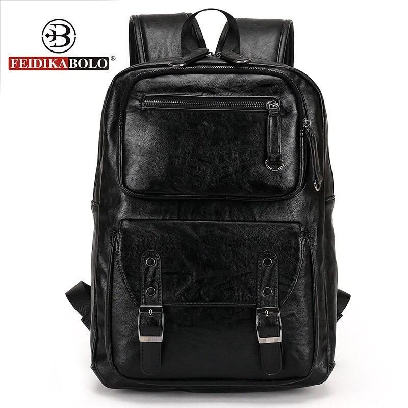 Style européen et américain solide de haute qualité en cuir véritable hommes sac à dos sac à bandoulière cartable ordinateur sac de voyage 6002-F