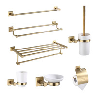Nordic brushed brass towel rack activity bathroom towel rack double towel rack with hook bathroom accessories toilet brush