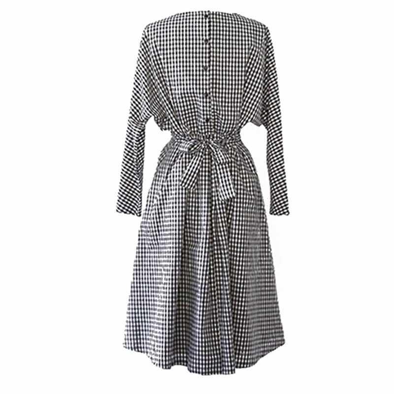 ETOSELL популярное осеннее клетчатое свободное платье с длинным рукавом, шикарный стиль, женское платье с пуговицами на спине, эластичным поясом и круглым вырезом, платья с бантом