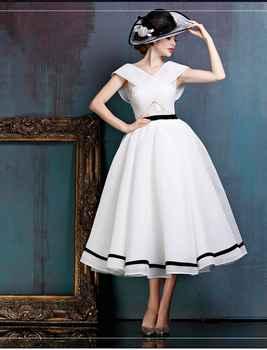 2019 New Black and White Vintage Tea Length Short Wedding Dress Sleeveless Informal 1950s 60s Bridal Gown Custom Made