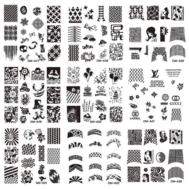 1pcs New Y Design Square Nail Art Stamping Plates Finger Stencil Stamp Diy Steel Polish Print Manicure Template In Templates From