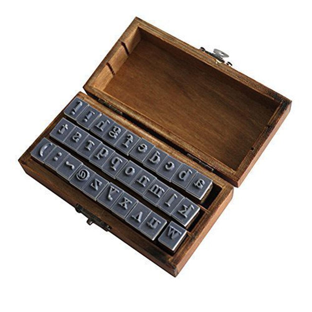 Wooden Design Lowercase Alphabet Symbols Stamp Set Brown пуф wooden круглый белый