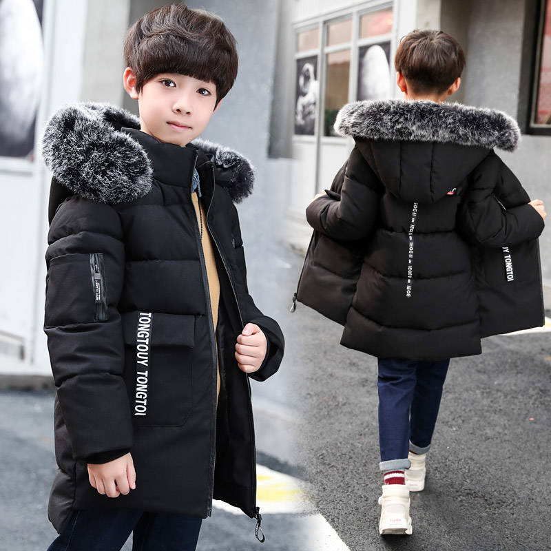 2019 new boy long thick cotton coat new cotton suit big children in the long section hooded detachable cotton clothes tide