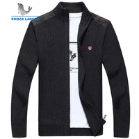 Men's Sweater Wool knitted Stand Collar Sweater coats For Man High Quality Pure Color Male Business Embroider Cardigan Sweaters