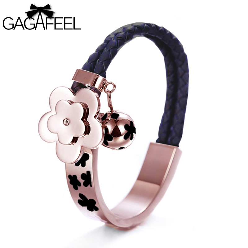 Free Shipping Hot sale Rose Gold Plated Genuine Leather Chains font b Bracelets b font Flower
