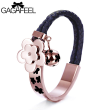 Free Shipping Hot sale  Rose Gold Plated Genuine Leather Chains Bracelets Flower Bangles Fashion Women Wedding Jewelry NSB506