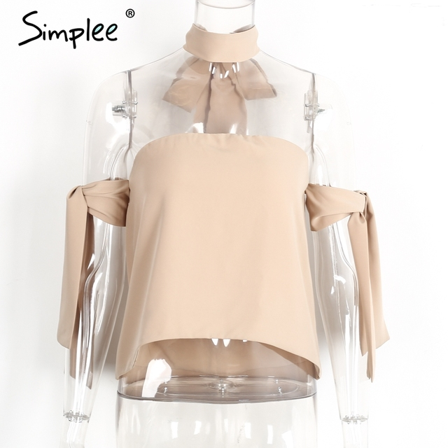 Simplee Halter off shoulder blouse shirt women tops Sexy backless summer crop tops Special sleeve blusas white blouse