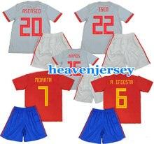 0df4e33b3b Crianças Espana Jersey PIQUE A. INIESTA RAMOS SILVA ASENSIO CITP Início Red  Longe Cinza Camisa Uniformes de Futebol Juvenil De F..