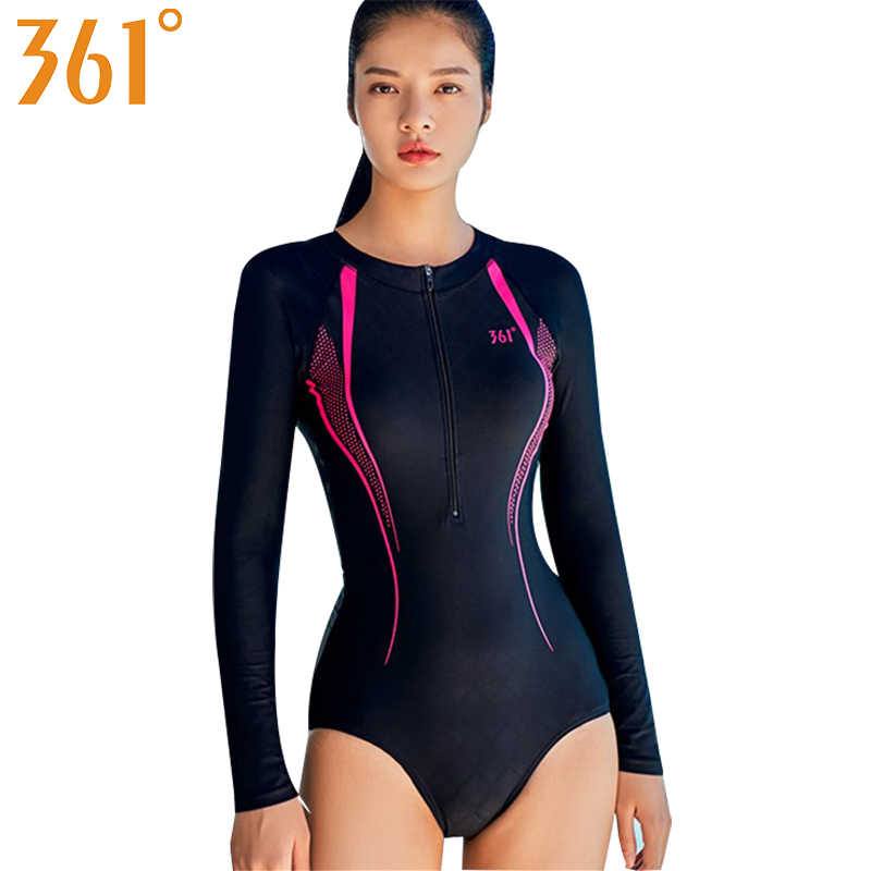a51be0f099877 361 Long Sleeve Swimwear Female Bathing Suits Zipper Sports Swim Suit Wire  Free Monokini Rash Guard